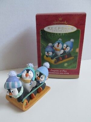 "Hallmark 2001 ""Penguins at Play"" on Sled, Toboggan Keepsake Ornament With Box"