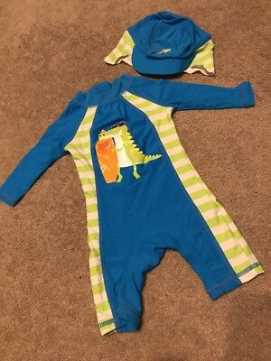 Baby Boys Swimsuit All In One With Hat. 3-6 Months. Excellent Condition 💛