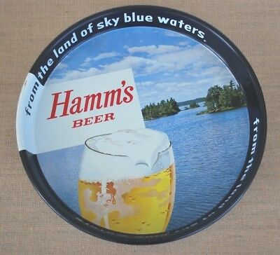 """Tin Hamm's Beer TRAY round serving 13"""" EUC sky blue waters Bar"""