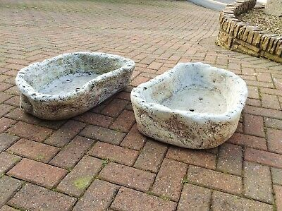 A Pair of Large Rough Cast Stone Rockery Trough or Planter's Garden Ornament