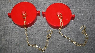 """2 EACH  2.5"""" NST Fire Hose Hydrant Adapter Cap and Chain FPPI Red"""