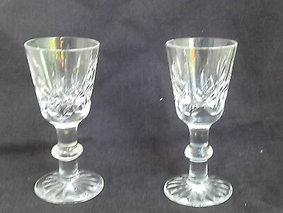 ROYAL BRIERLEY CRYSTAL  CUT GLASS SHERRY PORT GLASSES x 2, 10 CM signed