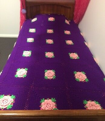 Vintage Crocheted Blanket - Purple With Pink Flowers - hand made crochet