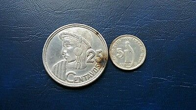 Guatemala lot of 2 Silver Coins 25 Centavos 1955 and 5 Centavos 1949