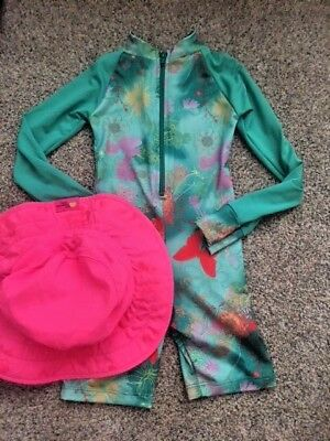 Sun Protection Zone- One piece UV swimsuit and hat- EUC- Girls size 4/5