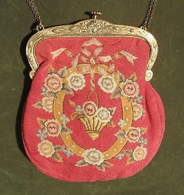 Antique Petit Point Purse Tapestry Basket of Flowers