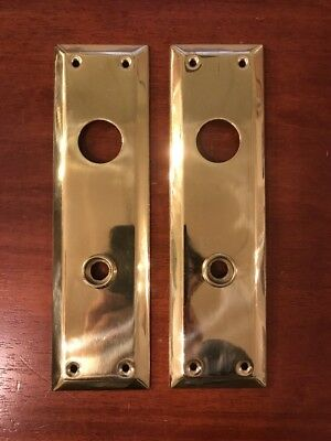 "Pair of Solid Brass Door Knob Back Plates 10"" x 2-3/4"""