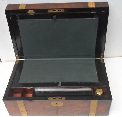 Antique 1800s Rosewood Folding Lap Desk - Hidden Compartment - Brass Inlays