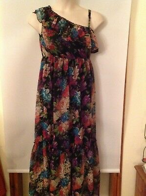 Ladies size 10, One shoulder maxi-dress, Black with muted colours floral,TG,BNWT