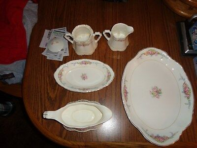 Antique W.S. George Radisson China gold trim Pink Floral Pattern 6 piece set