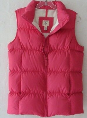 Pink LANDS END KIDS Down Feather Puffy quilted VEST Girl's Large 14 NEW