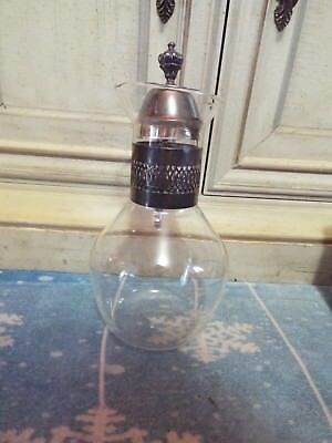 Vintage Coffee Silver Plated Glass Pot Carafe Decanter