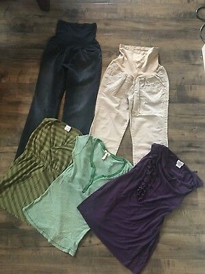 lot of maternity clothes pants and tops size medium