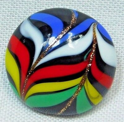 COLORFUL Antique ART GLASS BUTTON Goldstone OVERLAY