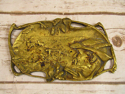 Vintage Bronze Trinket Coin Tray Plaque Man Hunting Deer In Field