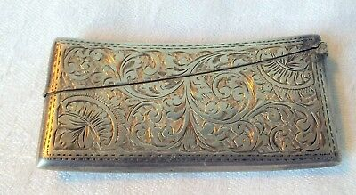 Charming  chased card case silver 1859 Birmingham