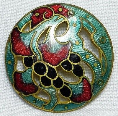 Antique ENAMEL Button Lillies and BERRIES