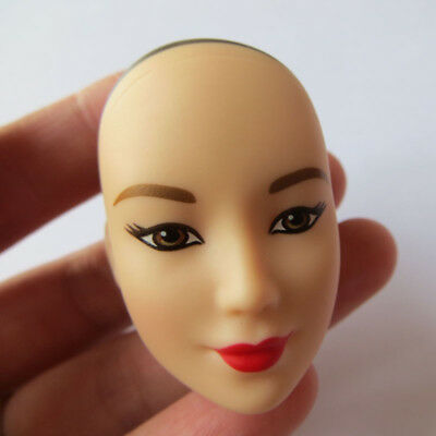 Head for Barbie Doll Asian Face White Skin Black Eyes Red Lips Without Hair DIY