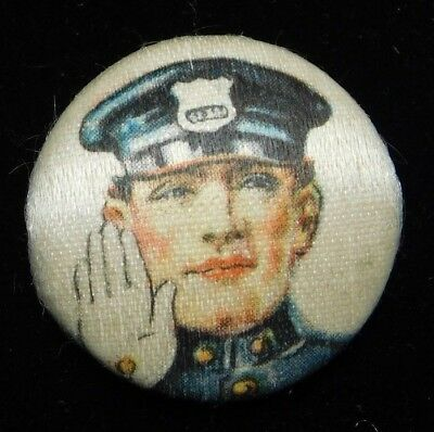 Antique Fabric Button Hand Painted ACCENTS Police Man ORIGINAL