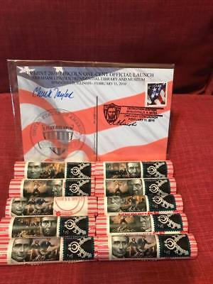 (10) 2010 Lincoln Mixed STAMPS & BLACK DEDICATION STAMP PENNY ROLLS W POSTCARD