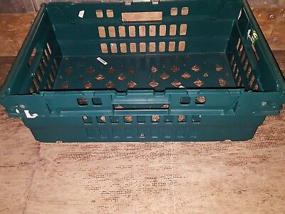 10X(GREEN) Bail Arm Crates- Stacking Trays 60x40x20cm