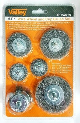 """6pc Wire Brush Set 1/4"""" Shank Power Drill Wheel Cup Deburr Crimped Remove Paint"""