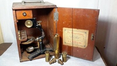 antique microscope A. S. Aloe & Co St Louis. Medical Profession. Pat 1885