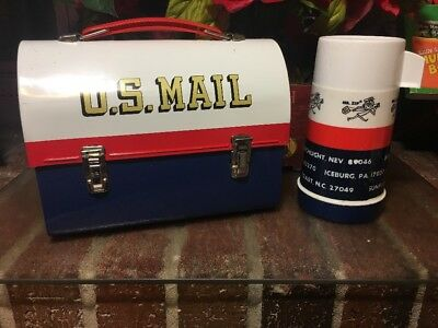 L@@k!! Vtg. 1969 U.s. Mail Dome Lunch Box With Thermos Bottle   ~Rare~