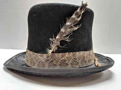 Antique Top Hat Snake Skin Band with Rattle snake Tail & Feather Very Unique