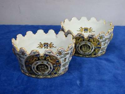 Pair Yong Tang (Hall) Chinese Cache Pots W/scalloped Rim, Mythological Theme