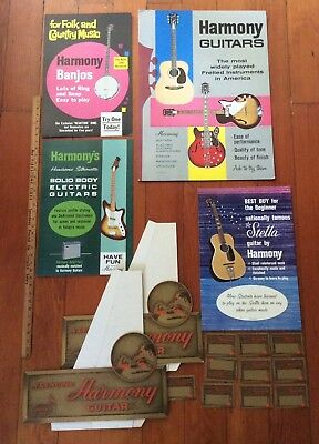 Lrg Lot Vintage1960s Harmony Guitar Electric Store Display Signs Advertising Etc