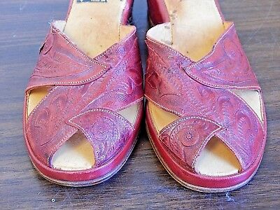 Vintage Mitla Red Hand-Tooled Leather Wedge Heel Sandals w/Open Back, Size 7?
