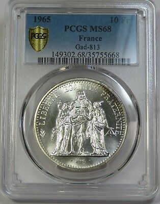 TOP POP! NONE FINER! 1965 PCGS MS 68 10 Franc Gad-813 France World Coin #18762A