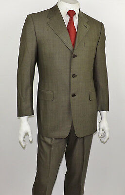 CANALI Italy Taupe & Black Herringbone Woven All-Season Wool 3-Btn Suit 40R