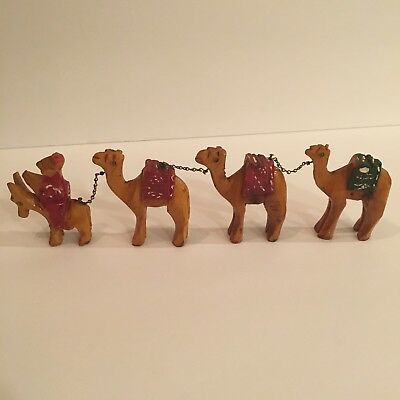 Vintage Hand Carved Wooden Camel Caravan with Donkey