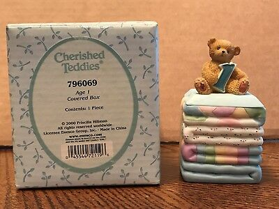 Enesco Cherished Teddies Birthday Age 1 Covered Box  796069