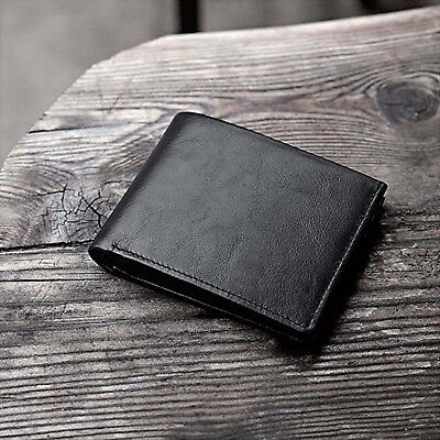 Business Rfid Blocking Leather Black Trifold Wallet Credit Card & Id Holder