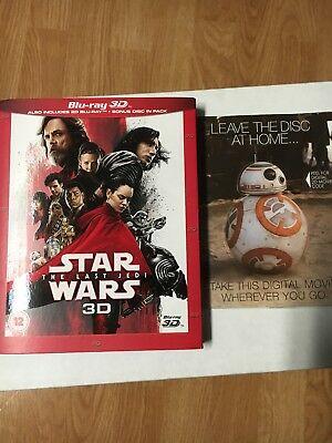 Star Wars The Last Jedi (Blu-ray Only) And Force Awakens Digital, No 3D disc