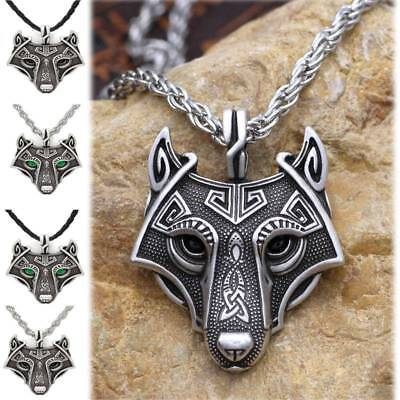 Mens Norse Wolf Head Animal Amulet Cord Rope Chain Norse Viking Pendant Necklace