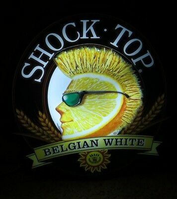 Shock Top Belgian White Beer Opti Neon Lighted Led Sign-New In Box-Wedgehead-Ale