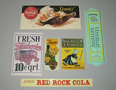 Metal Sign Wall Thermometer Lot Coca-Cola Squirt Strawberries Old Dutch Red Rock