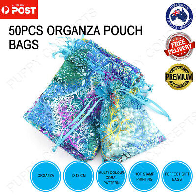 50pcs Organza Coralline Wedding Gift Party Bag Jewellery Packing Pouch 9x12cm