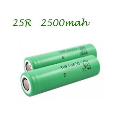2x For Samsung INR18650-25R 3.7V 2500mAh Rechargeable Flat Top 20A Battery
