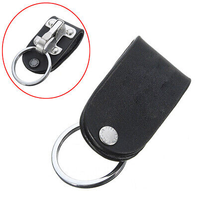 Stainless Belt Clip Ring Holder Black Leather Detachable Key Chain With Keyring