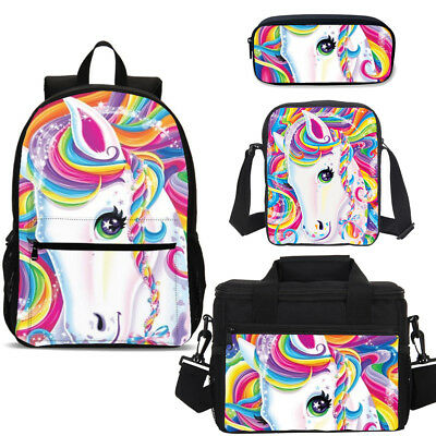 Colorful Rainbow Unicorn Kids Teenager Schoolbag Lunch Bag Pen Purse Wholesale