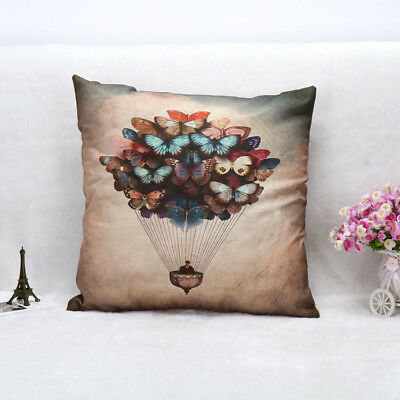 Animal Style Butterfly Hot Air Balloon Throw Pillow Cover Case Cushion Cover