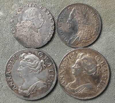 4 Great Britain Silver:  1707 & 1708 Shillings + 1757 & 1787 Sixpence