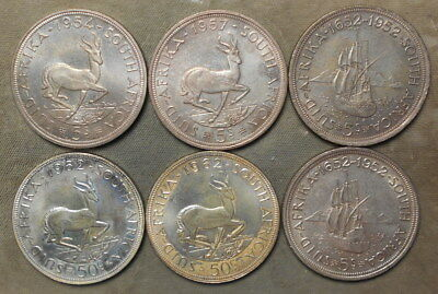 6 South Africa Five Shilling & 50 Cent Toned Silver Coins