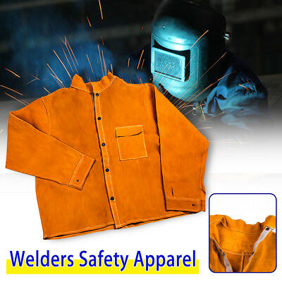 Welders Jacket Cow Leather Apron Protective Clothing Welding  Safety Apparel New
