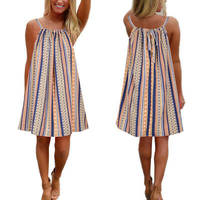 Women Boho Sleeveless Stripe Holiday Beach Summer Swing Mini Dress Plus size8-28